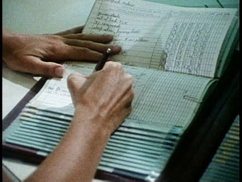 1980 ms nurse filling out papers / united states - 1980 stock videos and b-roll footage