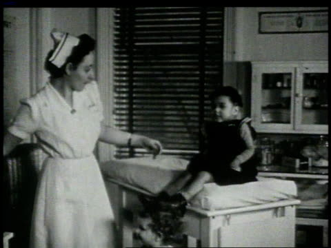 1946 MONTAGE Nurse setting squirming child on table and examining mouth / New York, New York, United States