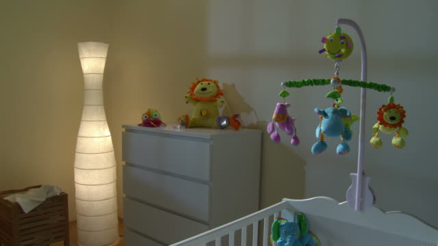 hd crane: nursery room at night - modern bedroom stock videos & royalty-free footage