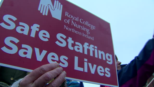 nurses in belfast striking over pay and working conditions - ireland stock videos & royalty-free footage