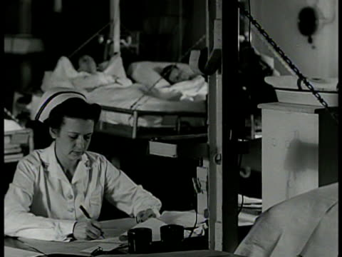 nurses mixing chemicals ms nurse writing at desk patients in bed bg vs nurse students in classroom ms students taking notes wwii bethesda naval... - bethesda maryland stock videos & royalty-free footage