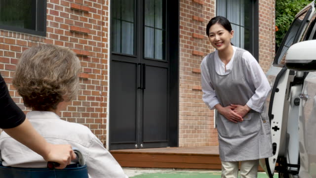 nursing - caregiver greeting senior woman in wheelchair - dorso umano video stock e b–roll