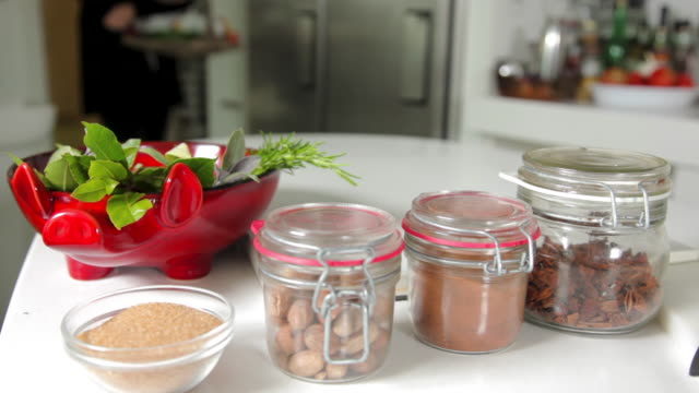 nutmeg, star anise, cinnamon and red apples - star anise stock videos and b-roll footage