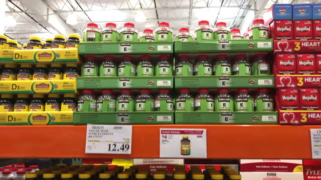 nutritional supplement for sale at the costco wholesale store in atlanta, georgia on june 11, 2021. - large group of objects stock videos & royalty-free footage