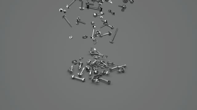 CGI MS Nuts and bolts falling on grey background / Greece