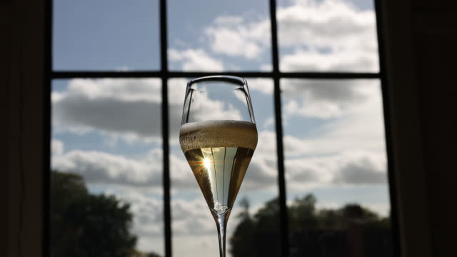 nyetimber wine being poured into wineglass at winery in tillington and west chiltington, u.k., on wednesday, october 7, 2020. - wine glass stock videos & royalty-free footage