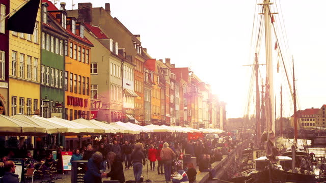 nyhavn famous road in copenhagen - copenhagen stock videos & royalty-free footage
