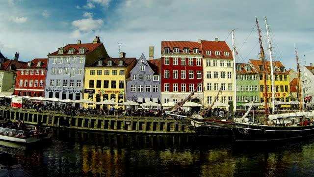 nyhavn famous road in copenhagen - scandinavian culture stock videos and b-roll footage