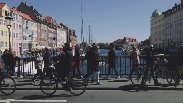 nyhavn in copenhagen - copenhagen video stock e b–roll