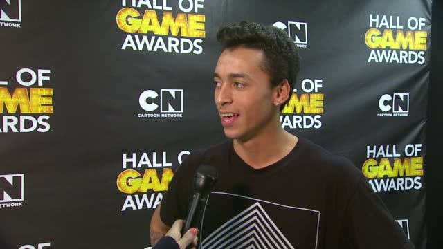 INTERVIEW Nyjah Huston on winning an award at Cartoon Network Hosts Fourth Annual Hall Of Game Awards at Barker Hangar on February 15 2014 in Santa...