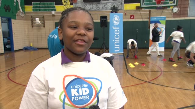 INTERVIEW Nyla Rainey talks about what she and other participants are doing explains what the fitness bands do UNICEF Kid Power Kicks off in New York...