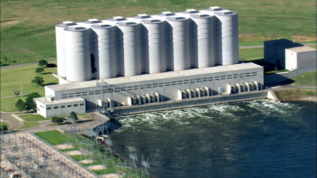 oahe dam power plant  - aerial view - south dakota, hughes county, united states - south dakota stock videos and b-roll footage