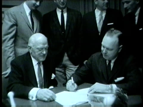 oak park savings and loans association signs agreement to sponsor chicago cubs games radio broadcast with wgn radio in 1959 - 1959 stock videos & royalty-free footage