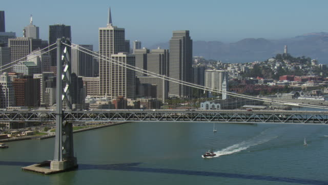 oakland bay bridge and san francisco - san francisco oakland bay bridge stock videos and b-roll footage