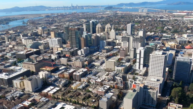 oakland downtown aerial - oakland california stock videos & royalty-free footage
