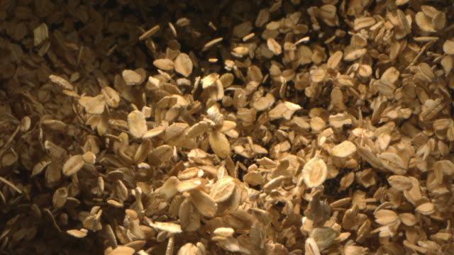 oats falling in the air in slow motion a top shot at 1500 fps - cereal plant stock videos & royalty-free footage