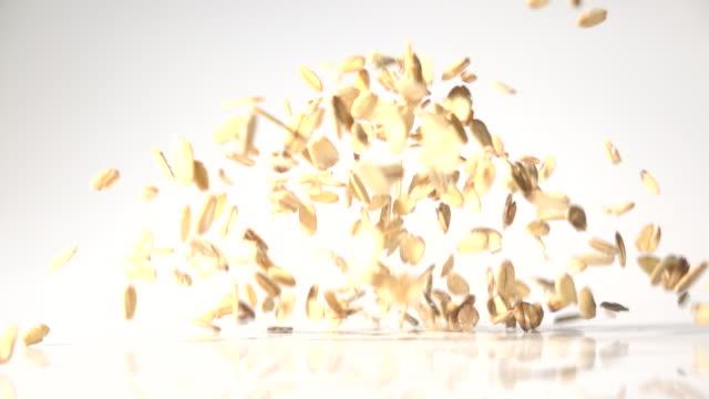 oats flake dancing captured with high speed sync - auf und ab springen stock-videos und b-roll-filmmaterial