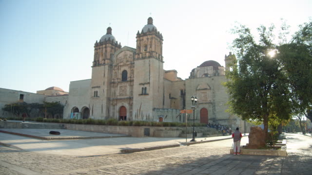 oaxaca cathedral in the morning, oaxaca city, mexico - religious equipment stock videos & royalty-free footage