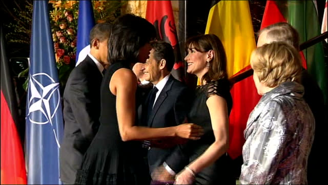 Obama calls for military support from NATO GERMANY BadenBaden INT Barack Obama and his wife Michelle Obama into City hall for a meeting of the heads...