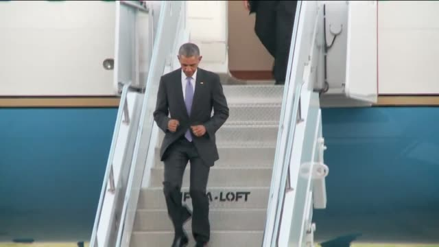 KFOR Obama Exits Air Force One Gets Into Presidential State Car At Tinker Air Force Base on July 15 2015 in Oklahoma City Oklahoma