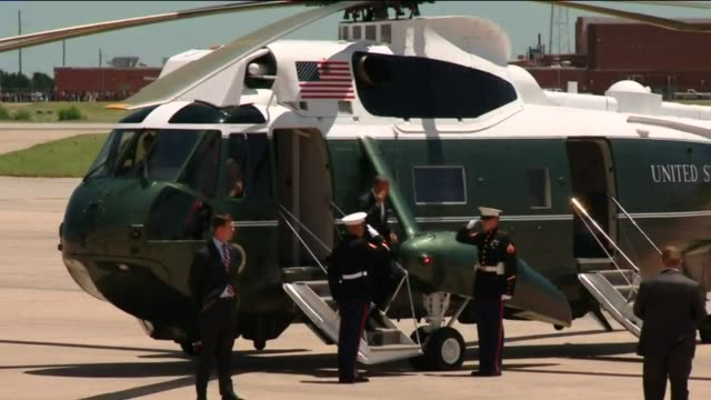 KFOR Obama Exits Marine One And Boards Air Force One At Tinker Air Force Base on July 16 2015 in Oklahoma City Oklahoma