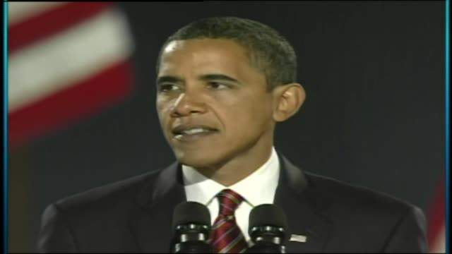 vidéos et rushes de obama gives speech after being elected president for a second term at grant park on november 04, 2008 in chicago, illinois - discours