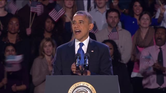 obama gives speech after victory i've never been more hopeful on november 07 2012 in chicago illinois - 2012 stock videos and b-roll footage
