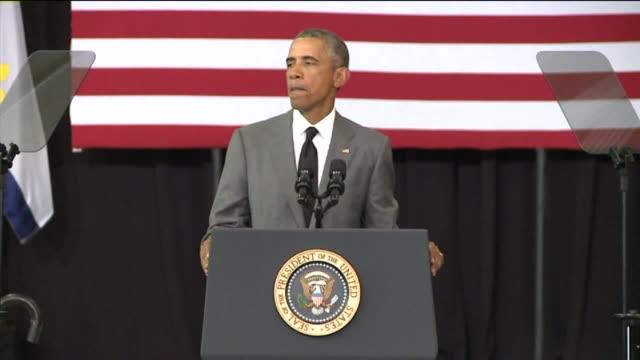 stockvideo's en b-roll-footage met obama speaking at hurricane katrina 10th anniversary on august 27, 2015 in new orleans, louisiana. - toespraak