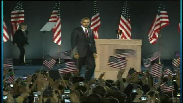 wgn obama takes the stage after being elected for a second term on november 04 2008 in chicago illinois - president stock videos & royalty-free footage