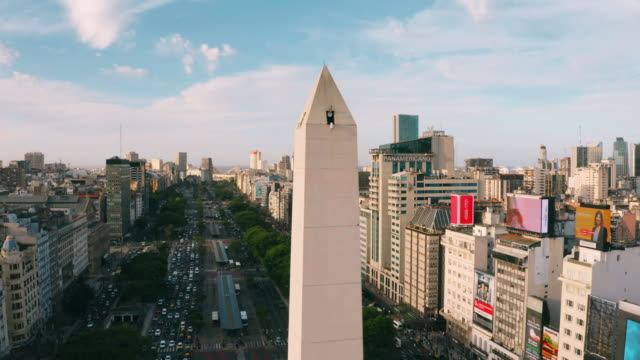 obelisco of buenos aires aerial view - obelisk stock videos & royalty-free footage