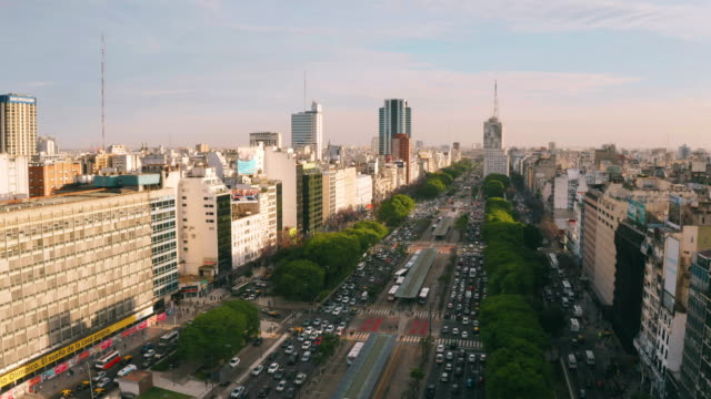 obelisco of buenos aires aerial view - avenida 9 de julio stock videos & royalty-free footage
