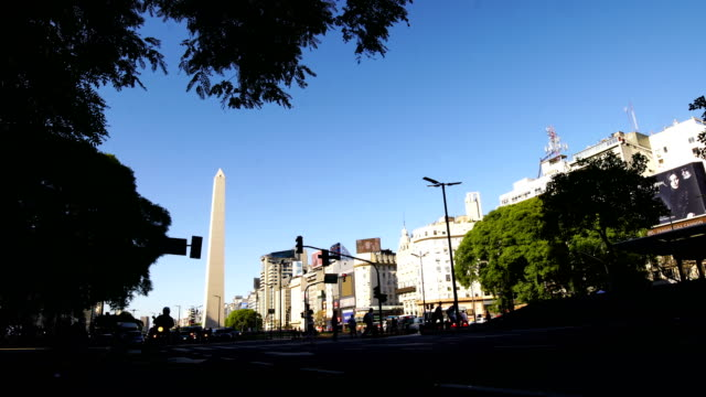 obelisk and avenue of 9 de julio, buenos aires, argentina - plaza de la república buenos aires stock videos & royalty-free footage
