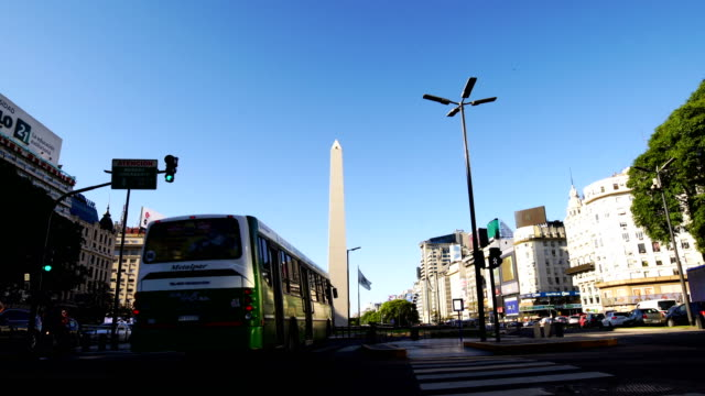 obelisk and avenue of 9 de julio, buenos aires, argentina - argentina stock videos and b-roll footage