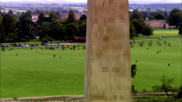 tu, aerial, obelisk and stowe house, buckinghamshire, england - 17th century style stock videos & royalty-free footage