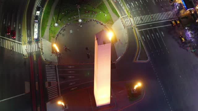 obelisk landmark in buenos aires and green letters ba, by night - avenida 9 de julio stock videos & royalty-free footage