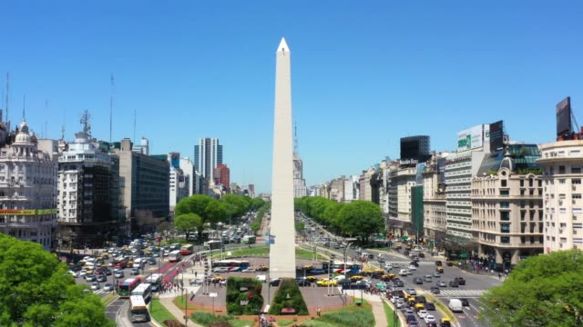 obelisk landmark in buenos aires and green letters ba - avenida 9 de julio stock videos & royalty-free footage