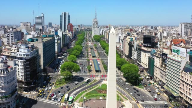 obelisk landmark in buenos aires and green letters ba - avenida 9 de julio video stock e b–roll