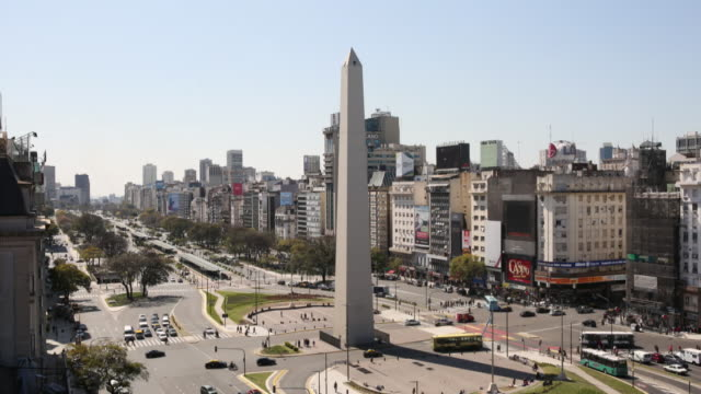 obelisk of buenos aires in argentina - plaza de la república buenos aires stock videos & royalty-free footage