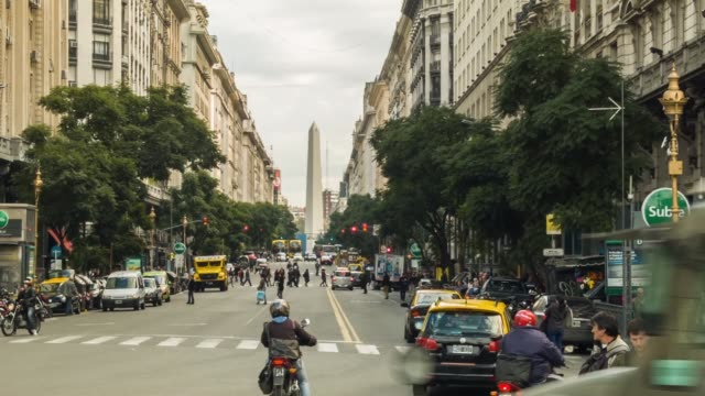 els obelisk of buenos aires viewed from diagonal norte street shot on the 29th of july 2014 - obelisk stock videos & royalty-free footage