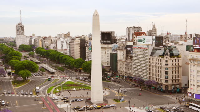 obelisk on avenida de julio in buenos aires - avenida 9 de julio stock videos & royalty-free footage