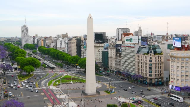 obelisk on avenida de julio in buenos aires - obelisk stock videos & royalty-free footage