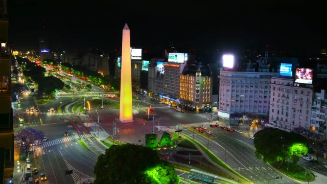 obelisk time lapse, avenida de 9 julio in buenos aires by night - avenida 9 de julio video stock e b–roll