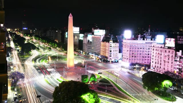 obelisk time lapse, avenida de julio in buenos aires by night - avenida 9 de julio stock videos & royalty-free footage