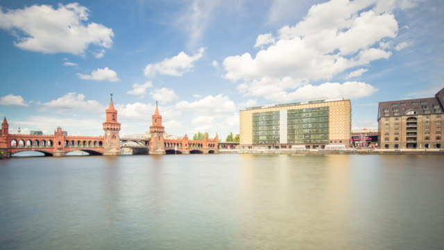 Oberbaumbrücke Berlin in Summer with Spree River, Train and Dynamic Clouds
