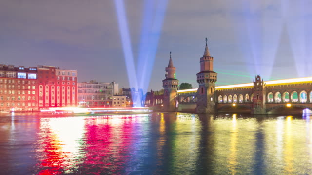 oberbaumbrücke berlin night timelapse with dynamic trains and lightships - lightship stock videos & royalty-free footage
