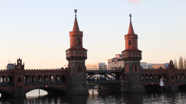 Oberbaumbrücke (bridge) in Berlin at sunset