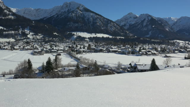 Oberstdorf with Allgaeu Alps in winter, Swabia, Bavaria, Germany