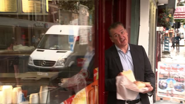 public health england set targets to cut calorie consumption int close shot of slices of meat being sliced in kebab shop kebab meat on spit/ reporter... - health food shop stock videos and b-roll footage