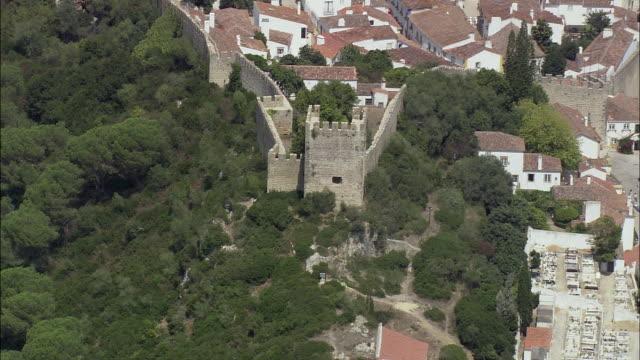 aerial ws obidos castle / obidos, leria, portugal - leiria district stock videos & royalty-free footage