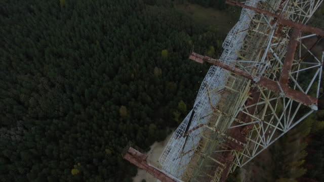 "object ""chernobyl-2"". flight backward above the construction, camera up. part 1of3 - 1986 stock videos and b-roll footage"